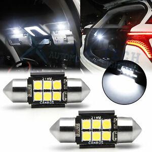 2x 6000K White Festoon 31MM DE3175 DE3021 3175 LED Interior Dome Roof Light Bulb