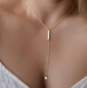 Necklace Long Triangle Dangle Drop Chain Boho Ladies Choker Pendant Gold Plated