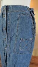 Vtg Ralph Lauren Womens Long Denim Cargo Skirt Modest Adj 26-28 waist