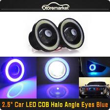 """2x 2.5"""" Car SUV COB LED Fog Light Projector Blue Angel Eye Halo Ring DRL Bulb"""