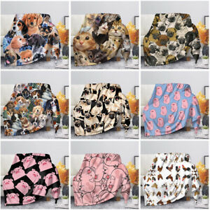 Bed Blankets Warm Flannel Micro Plush FleeceThrow Blanket Pig,Pug,Cat,Dog Design