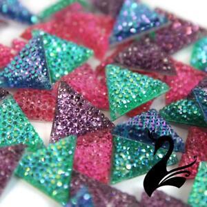 Rhinestone - Diamante Studded Acrylic Resin - Triangle Flat Back 16mm/2 holes...