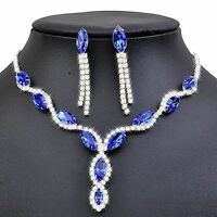 Shiny Royal Blue Bridal Evening Jewellery Set Drop Earrings and Necklace S420