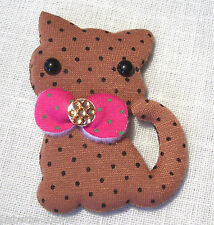 GRANDE APPLIQUE CHAT NOISETTE & NOEUD STRASS *8 x 6 cm* - couture scrapbooking