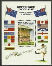 TOGO 1987 RUGBY WORLD CUP Souvenir Sheet  MNH