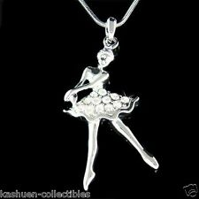 w Swarovski Crystal ~BALLERINA~ Ballet Dancer Dance Girls Pendant Chain Necklace
