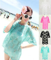 ♡IT♡ Beach Floral Sheer Lace Loose Oversize Top/Tee T-shirt Cover Up Pastel Neon