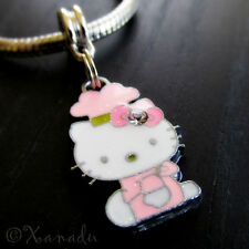 Pink Hello Kitty Chef European Charm Bead For Charm Bracelets And Necklaces