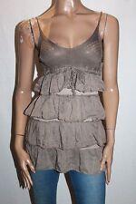 J&D Italy Designer Crochet Khaki Silk Tiered Top Size XS BNWT #SS44