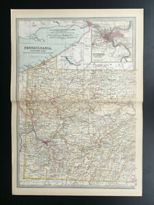 Antique Map Of Pennsylvania Western Pittsburg Jefferson North America 1903