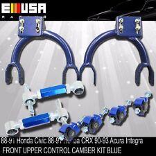 Front Upper Control Camber+F&R Camber  BLUE 88-91 Honda Civic/CRX 90-93 Integra