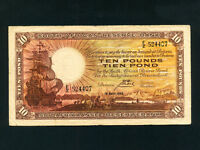 South Africa:P-87,10 Pounds ,1943 * Sailing Ship * F-VF *
