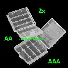 2 x AA AAA battery clear white storage case holder rechargeable batteries travel