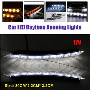 2PCS 12V 9LED Daytime Running Light Bar DRL Fog White lights + Amber Turn Signal