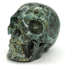 "5.1"" Large Skull Healing Crystal Natural Gemstone African Turquoise Carved Decor"