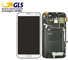 GLS DISPLAY +TOUCH SCREEN per SAMSUNG GALAXY NOTE 2 GT N7100 FRAME VETRO BIANCO