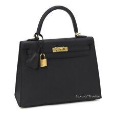 BNIB NEW AUTHENTIC HERMES KELLY 25cm SELLIER BLACK EPSOM LEATHER GHW HANDBAG BAG