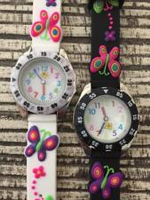 Girls Kids Silicone Rubber Jelly Geneva Butterfly Pink Purple Watch Black White