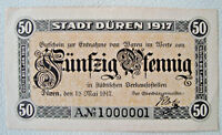 Notgeld Düren Rheinland 50 Pfg, A vor der KN 1917 German Emergency Money (2376)
