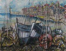 2405* gouache papier marine bateaux sur le port st raphael ?  bernard buffet