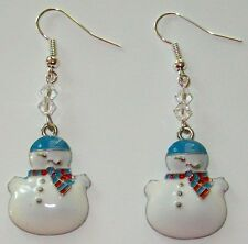 CHRISTMAS SNOWMAN EARRINGS-WHITE/BLUE-SWAROVSKI BEADS-DANGLES-SPARKLING