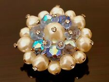 VTG Vendome ICE Blue Aurora Borealis Glass Bead and Faux Pearl Round BROOCH Pin
