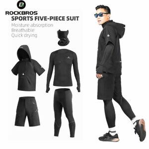 ROCKBROS 5pcs Tracksuit Gym Fitness Compression Sports Suit Clothes Sportwear
