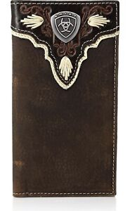 Ariat  Mens Wallet Rodeo Leather Overlay Shield Concho Brown- A3531444