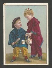 "Victorian Trade Card ""Yankee Boy & Girl Traveling - Lion Coffee""  Late 1800's."