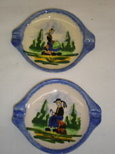Pair-DESVRES FRANCE Hand Painted Ashtrays - Man and Woman