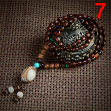 Retro Wood Beads Necklaces Stone Pendant Long Sweater Necklace Women Jewelry LJ