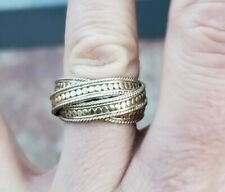 RARE Anna Beck Sterling Silver gold plated  Puzzle band Ring 925
