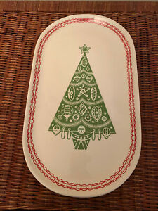 CREATIVE CO-OP Oval Porcelain Christmas Tree Platter w/ Red Trim Design