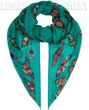 "ALEXANDER MCQUEEN emerald BEJEWELED BUTTERFLIES silk chiffon 54"" scarf NWT Auth"