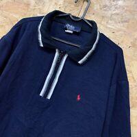 Women's Ralph Lauren Navy Polo Top Zip Neck Size Large (16-18). Great Condition