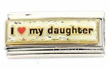 I Love My Daughter Glitter Superlink For 9mm Italian Charm Bracelets Heart Link