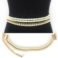 WOMEN Fashion Stretch Gold Metal Chain HIP WAIST Skinny Long Wide Pearl BELT
