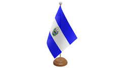El Salvador Small Table Flag with Wooden Stand