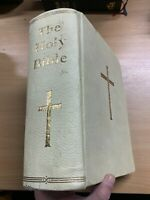 1950s Enorme Sacra Bibbia Rembrandt Illustrato Kjv pelle Bianca Libro ( Xx )