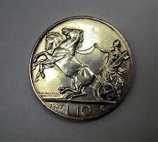 10 LIRE BIGA VITTORIO EMANUELE III RE DI ITALIA 1927 DUE ROSETTE BB/QSPL