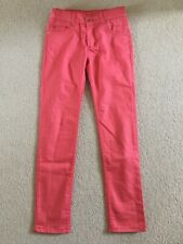 Girl Skinny Trousers 11-12 years CORAL 100% cotton adjustable elasticated waist