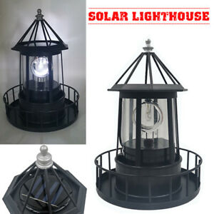 Lighthouse Solar LED Light Rotating Lamp IP65 Beacon Garden Yard Lawn Decor el