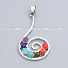 1x 7 Stone Spiral Music Note Healing Chakra Resin Point Bead Charms Pendant