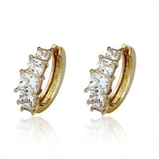 Luxury 18 k Gold Plated with White Zircon Circle Hoops Earrings E685