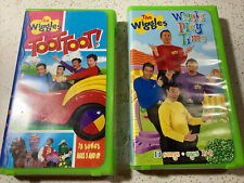 """VHS LOT of 2 ~ The WIGGLES """"Toot, Toot!"""" and """"Wiggly Play Time!"""""""