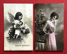 2 x Glückwunsch AK WEIHNACHTEN 1912 Mädchen mit Puppe Porzellankopf Puppe( 63360