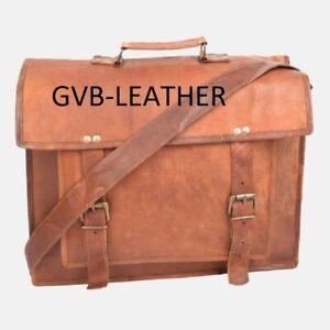 Men's Genuine Leather Vintage Messenger Shoulder Laptop Case Satchel Basic Bag