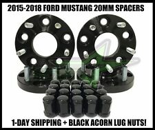 4PC Mustang Black Hub Centric Wheel Spacer Kit 20mm + 20 Black Bulge Acorn Lugs