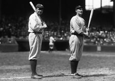 BABE RUTH CLASSIC WITH TY COBB BEFORE GAME HOLDING BATS IN HAND