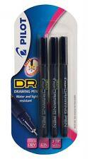 Pilot DR Drawing Pen - Black Pigment Ink - Pack of 3 (0.1, 0.3, 0.5)